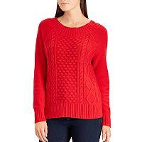 Petite Chaps Cable-Knit Crewneck Sweater