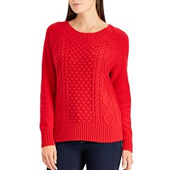 Petite Chaps Cable-Knit Crewneck Sweater