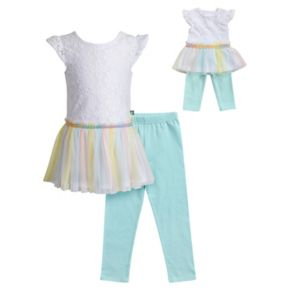 Girls 4-14 Dollie & Me Lace Knit Dress & Capri Leggings Set