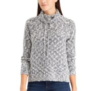 Petite Chaps Marled Funnel Neck Sweater