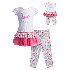 Girls 4-14 Dollie & Me Bunny Rabbit Dress & Floral Capri Leggings Set