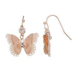 LC Lauren Conrad Filigree Nickel Free Butterfly Drop Earrings