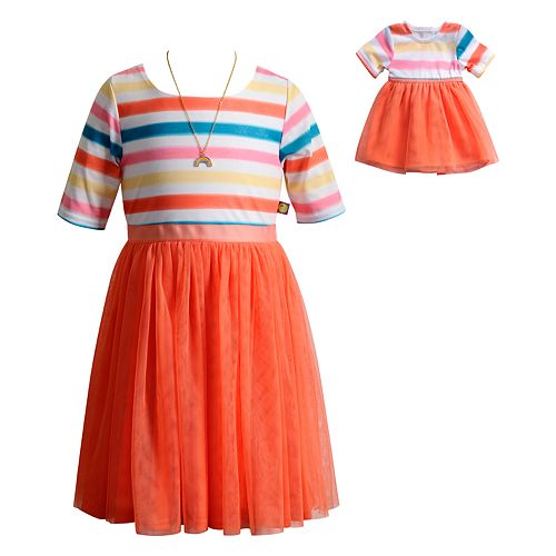 Girls 4-14 Dollie & Me Striped Dress with Necklace Set