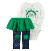 Baby Girl Carter's 'Happy Go Lucky' Bodysuit & Tutu Leggings Set