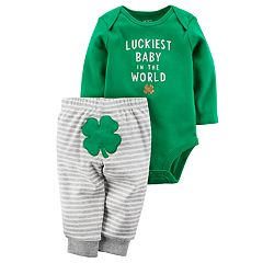 Baby Carter's St. Patrick's Day 'Luckiest Baby in the World' Bodysuit & Shamrock Applique Pants Set