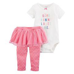Baby Girl Carter's 'Somebunny Loves Me' Graphic Bodysuit & Tutu Leggings Set