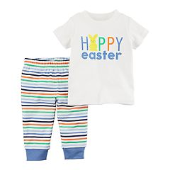 Baby Boy Carter's 'Happy Easter' Tee & Striped Pants Set