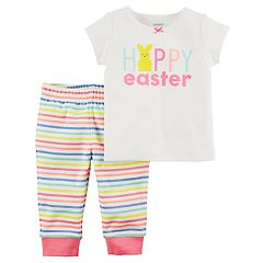 Baby Girl Carter's 'Happy Easter' Tee & Striped Pants Set