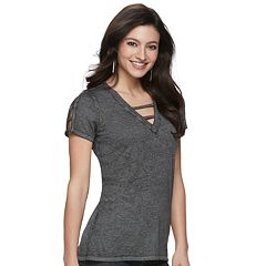 Women's Rock & Republic® Lattice V-Neck Tee