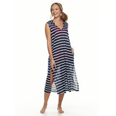 Women's Portocruz Striped Hooded Midi Cover-Up Dress
