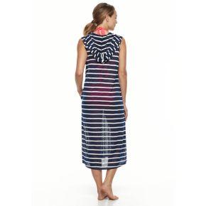 Women's Portocruz Striped Hooded Midi Cover-Up Dress