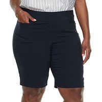 Plus Size Dana Buchman Pull-On Bermuda Shorts