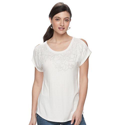 b8cf279d9d8ff Women s Apt. 9® Embellished Cold-Shoulder Tee
