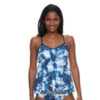 Women's Apt. 9® Tie-Dye Flounce Tankini Top