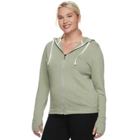 Juniors' Plus Size SO® Thumb Hole Zip-Up Hoodie