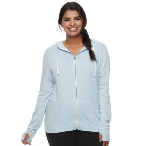 Juniors Plus Size So Thumb Hole Zip Up Hoodie