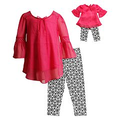 Girls 4-14 Dollie & Me Tunic Top & Geometric Print Capri Leggings Set
