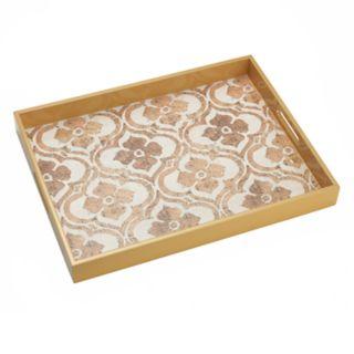 Bombay? Gold Quatrefoil Wood Decorative Serving Tray