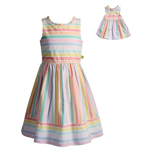 Girls 4-14 Dollie & Me Striped Dress Set
