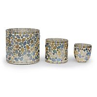 Bombay™ 3 pc Silver Glass Mosaic Votive Candle Holder Set