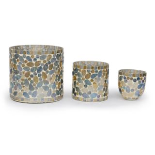 Bombay? 3-pc. Silver Glass Mosaic Votive Candle Holder Set