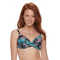 Women's Apt. 9® Bust Enhancer Paisley Push-Up Bikini Top