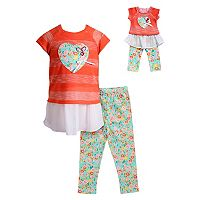 Girls 4-14 Dollie & Me Mock-Layer Heart Top & Floral Leggings Set