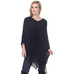 Women's White Mark Textured Fringe Poncho