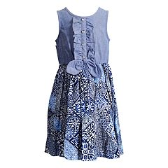 Girls 4-6x Youngland Front Tie Chambray Woven Dress