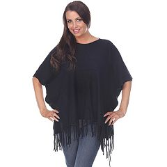 Women's White Mark Button Fringe Poncho