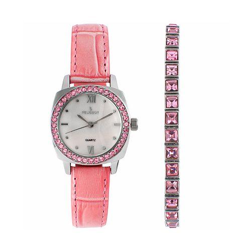 Peugeot Women's Crystal Leather Watch & Bracelet Set - 3048PST