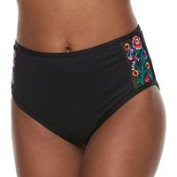 Women's Apt. 9® Embroidered High-Waisted Bikini Bottoms