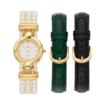 Peugeot Women's Simulated Pearl Watch & Interchangeable Leather Band Set - 528G-1