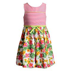 Girls 4-6x Youngland Tropical Print Knit Woven Dress