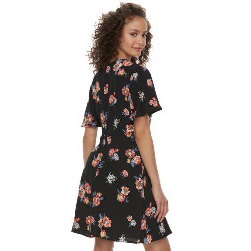 Juniors' Rewind Floral Faux-Wrap Dress