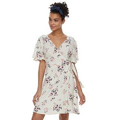 Juniors' Rewind Floral Faux-Wrap Dress