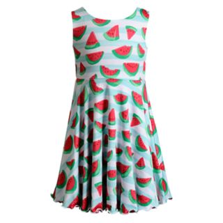 Girls 4-6x Youngland Watermelon/Kaleidoscope Reversible Knit Dress