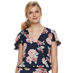 Women's Studio 253 Printed Faux-Wrap Top