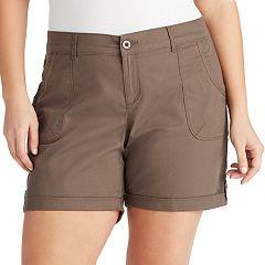 Plus Size Gloria Vanderbilt Misha Twill Button-Tab Shorts