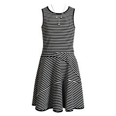 Girls 7-16 Emily West Sleeveless Striped Skater Dress with Necklace