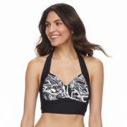 Women's Beach Scene Bust Enhancer Halter Bikini Top