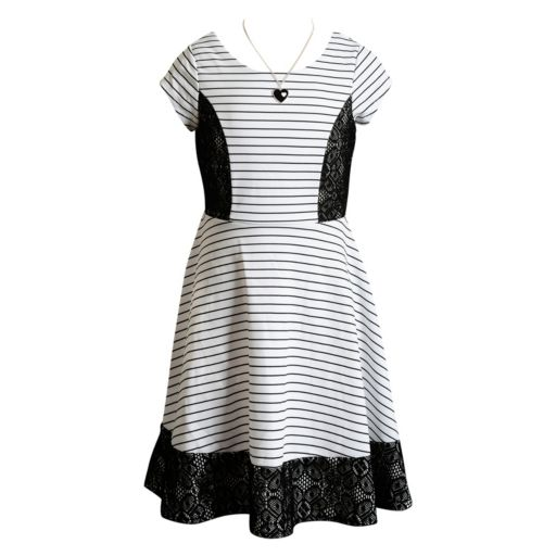 Girls 7-16 Emily West Sleeveless Striped Lace Skater Dress with Necklace