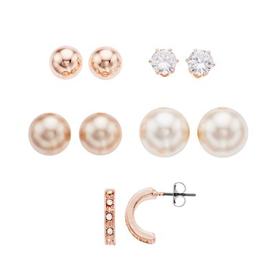 Simulated Pearl & Simulated Crystal Earring Set