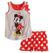 Disney's Minnie Mouse Girls 4-8 Polka-Dot Tank Top & Plush Shorts Set