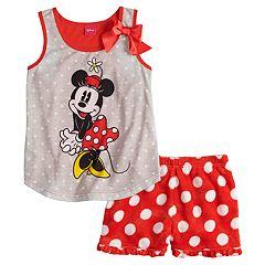 Disney's Minnie Mouse Girls 4-8 Polka-Dot Tank Top & Plush Shorts Set