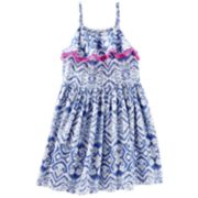 Toddler Girl OshKosh B'gosh® Ikat Pom Trim Tank Dress