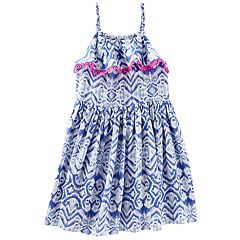 Toddler Girl OshKosh B'gosh® Ikat Pom Trim Tank Dress