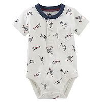 Baby Boy OshKosh B'gosh® Airplane Pattern Henley Bodysuit