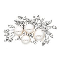 Simulated Crystal & Simulated Pearl Cluster Pin