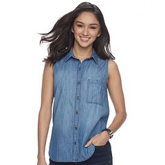 Juniors' SO® Sleeveless Button-Down Chambray Shirt